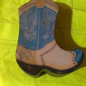 Metal vintage container Cowboy boot